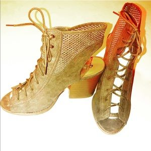 Qupid Shoes - New Open Toe Tie Up Ankle Boots Taupe Color